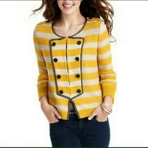 Loft Striped Sailor Sweater Cardigan Military XS